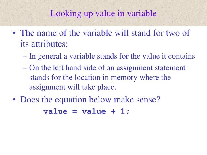 Looking up value in variable
