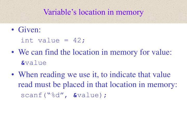 Variable's location in memory