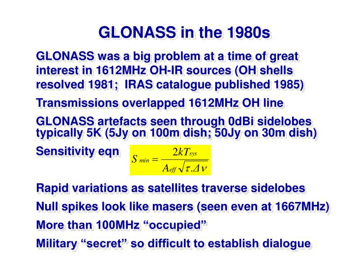 GLONASS in the 1980s