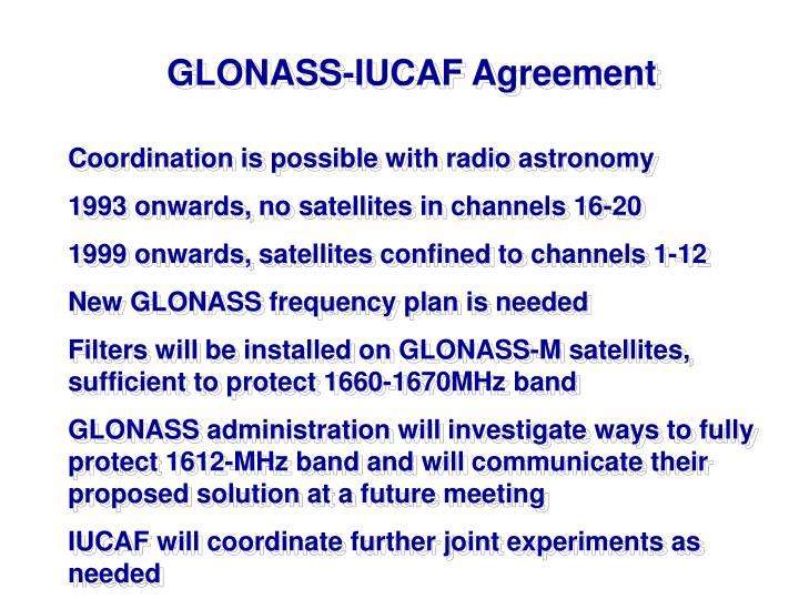 GLONASS-IUCAF Agreement