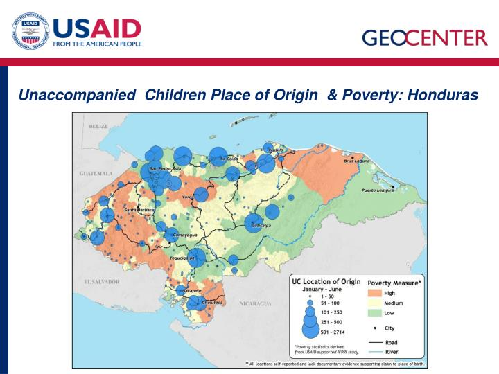 Unaccompanied  Children Place of Origin  & Poverty: Honduras
