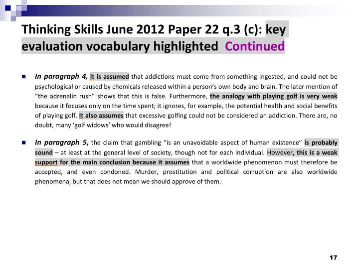 Thinking Skills June 2012 Paper 22 q.3 (c):