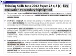 thinking skills june 2012 paper 22 q 3 c key evaluation vocabulary highlighted