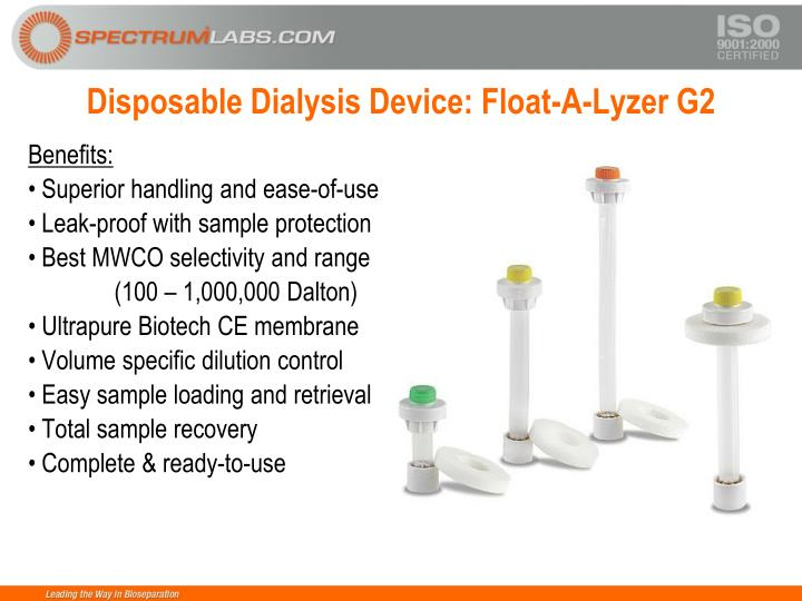 Disposable Dialysis Device: Float-A-Lyzer G2