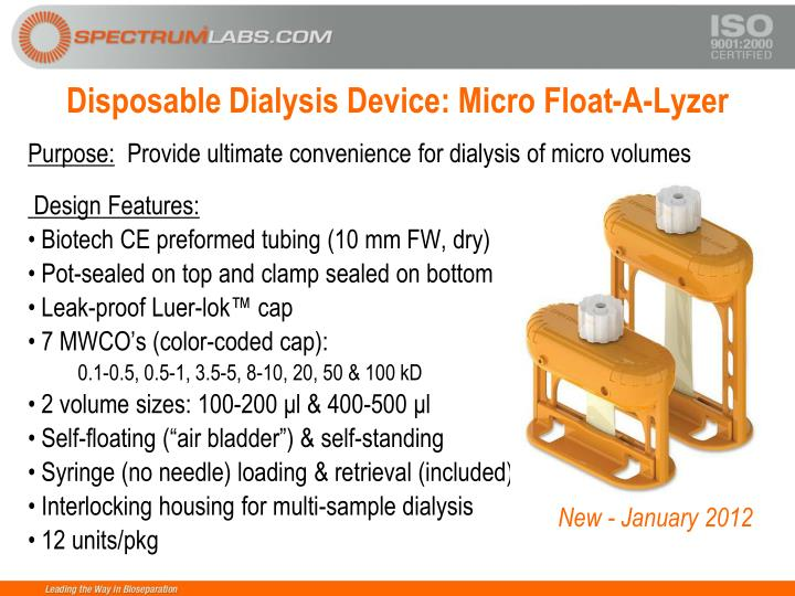Disposable Dialysis Device: Micro Float-A-Lyzer