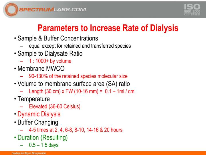 Parameters to Increase Rate of Dialysis