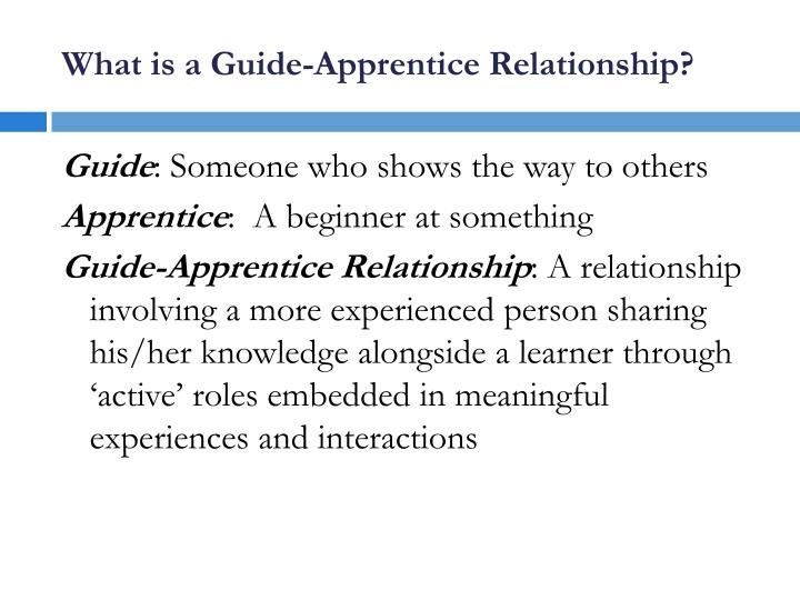 What is a guide apprentice relationship