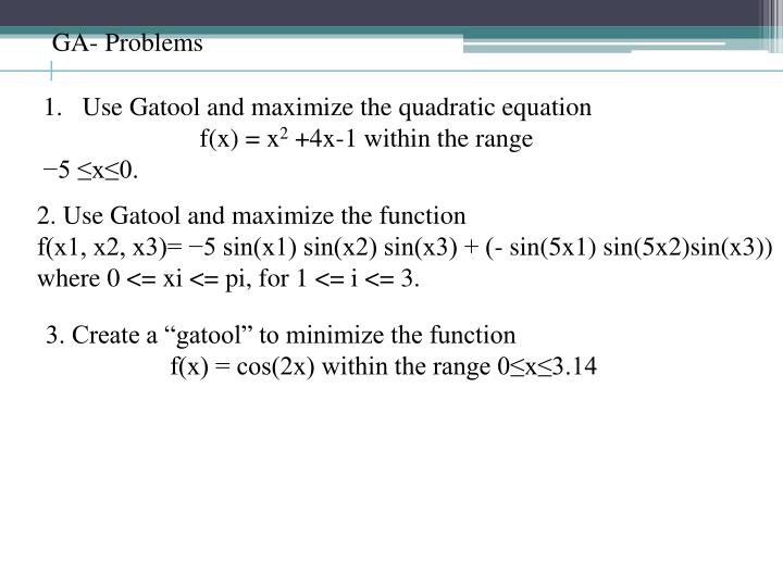 GA- Problems