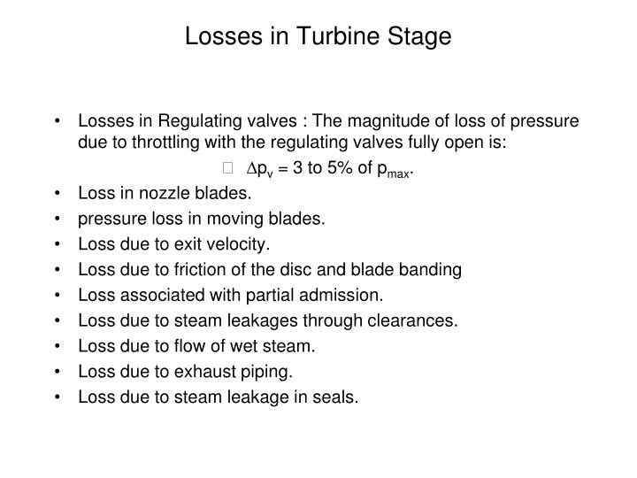 Losses in turbine stage