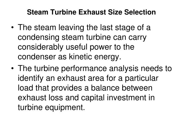 Steam Turbine Exhaust Size Selection