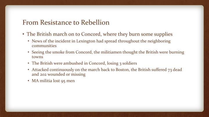 From Resistance to Rebellion