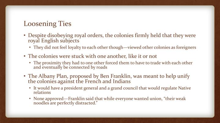 Loosening Ties