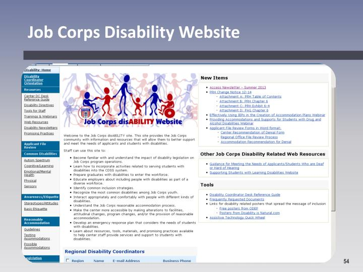 Job Corps Disability Website