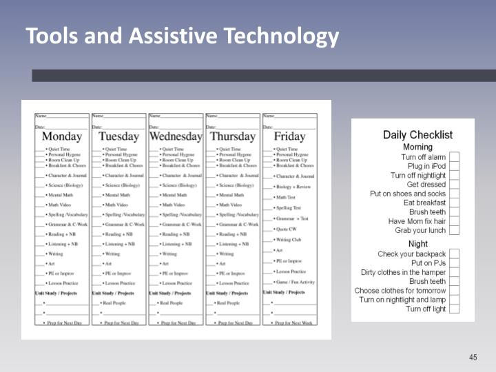 Tools and Assistive Technology