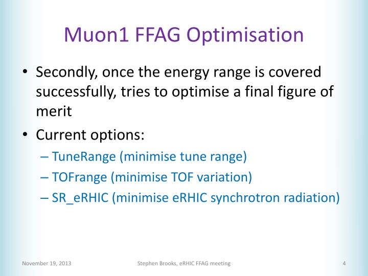Muon1 FFAG Optimisation