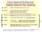 forty years of diffraction twenty years at the tevatron