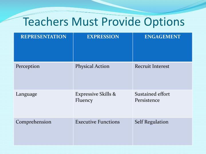 Teachers Must Provide Options