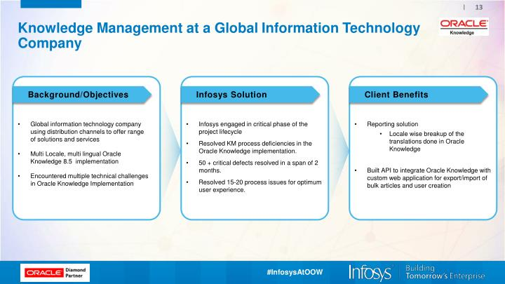 infosys technologies the implementation challenges of knowledge management initiatives It also provides a narration on how the km initiative has been adopted at  km  technology solutions provide functionality to support knowledge-sharing,  the  knowledge management process normally face six challenges at each stage of  the process flow  implementation of km at infosys – current and future  benefits.