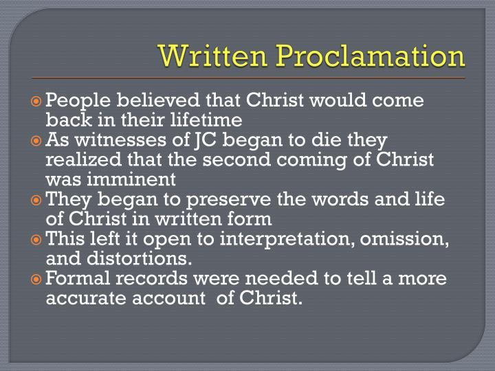 Written Proclamation