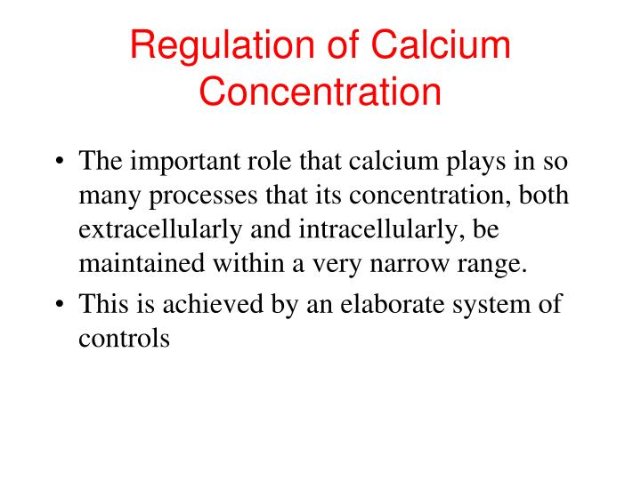 Regulation of Calcium Concentration