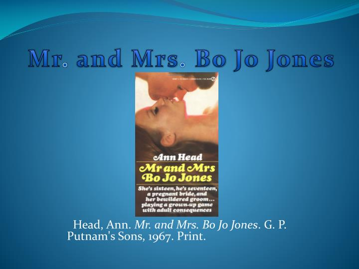 Head ann mr and mrs bo jo jones g p putnam s sons 1967 print