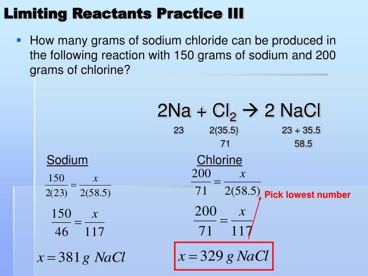 Limiting Reactants Practice III