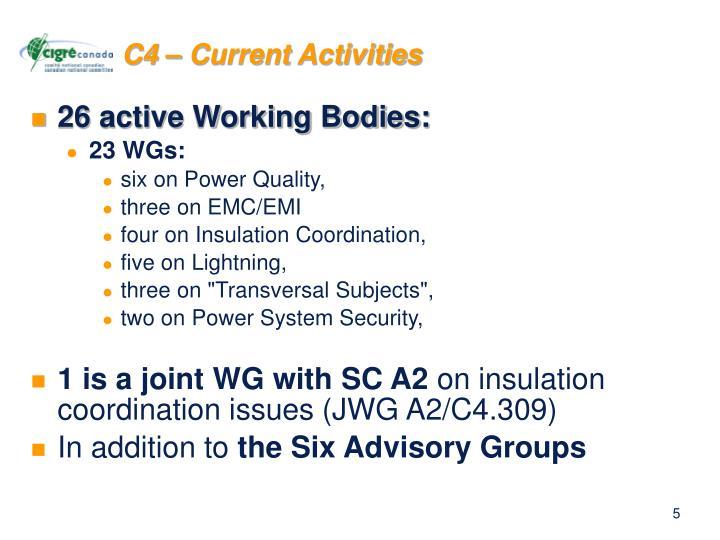 C4 – Current Activities