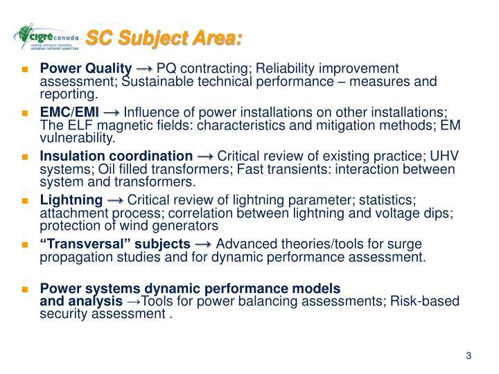 SC Subject Area: