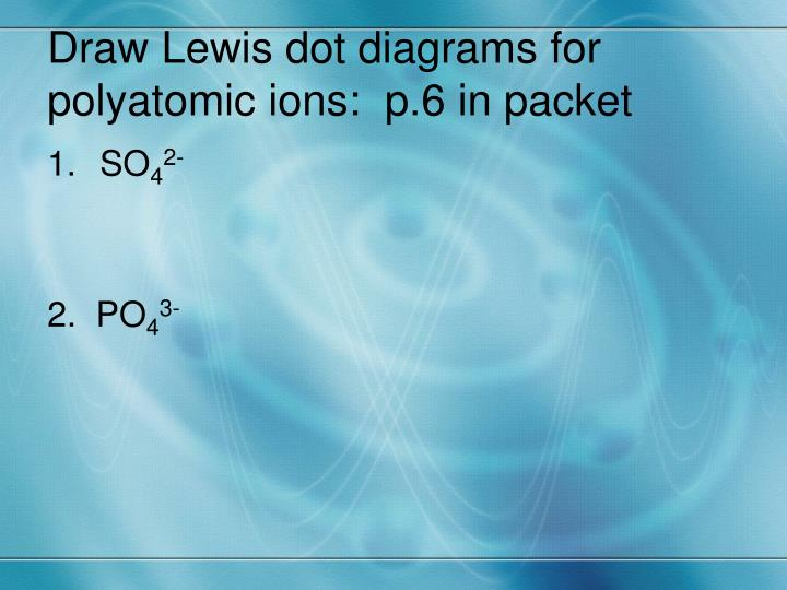 Draw Lewis dot diagrams for polyatomic ions:  p.6 in packet