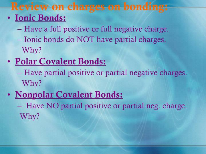 Review on charges on bonding: