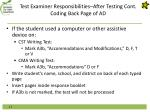 test examiner responsibilities after testing cont coding back page of ad1