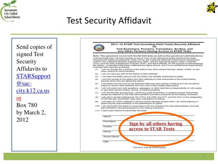 Test Security Affidavit