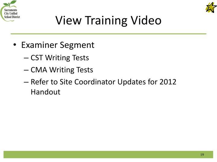 View Training Video