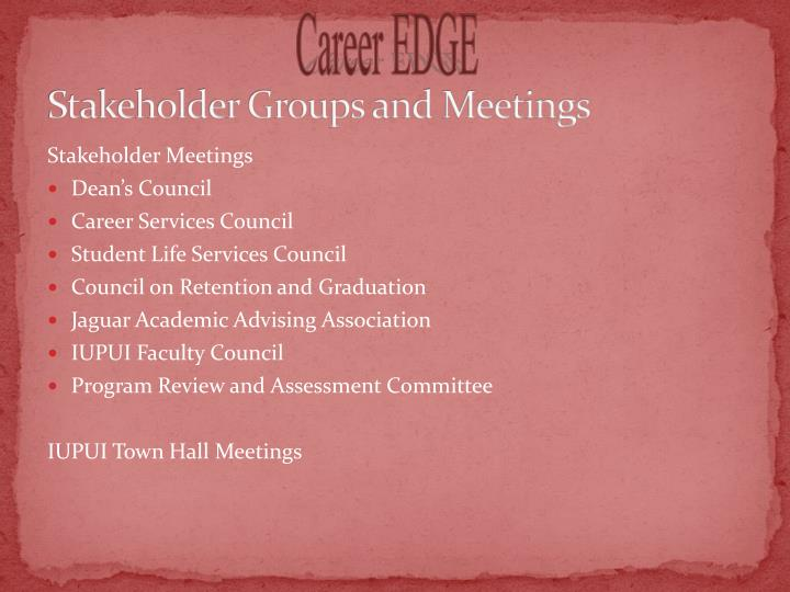 Stakeholder Groups and Meetings