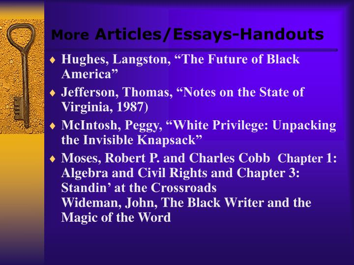 """essays on peggy mcintosh white privilege Article review a synopsis peggy mcintosh (1988) in her article entitled """"white privilege and male privilege: a personal account of coming to see correspondence."""
