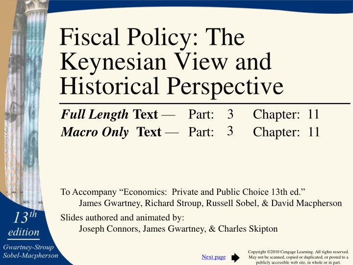 Fiscal policy the keynesian view and historical perspective