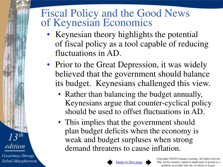 Fiscal Policy and the Good News