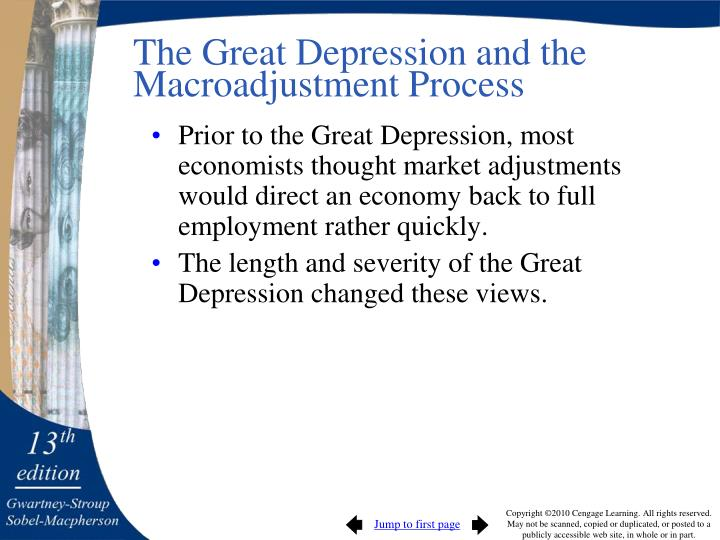 The Great Depression and the Macroadjustment Process