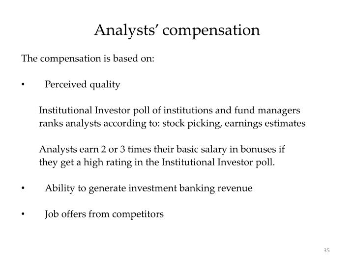 Analysts' compensation