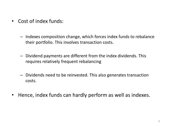 Cost of index funds: