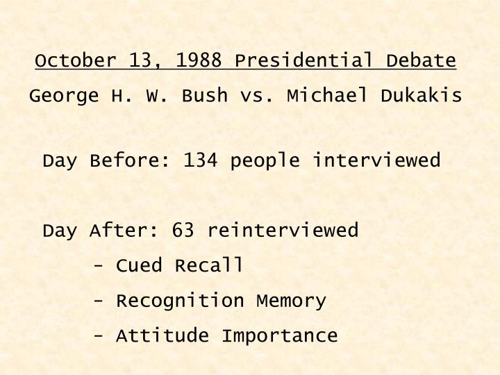 October 13, 1988 Presidential Debate