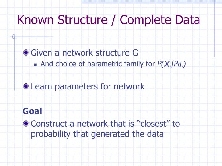 Known Structure / Complete Data