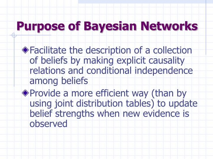 Purpose of Bayesian Networks