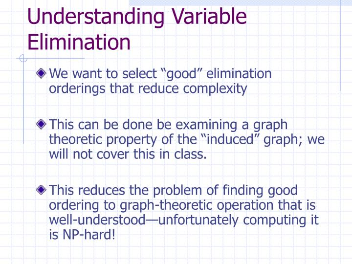 Understanding Variable Elimination