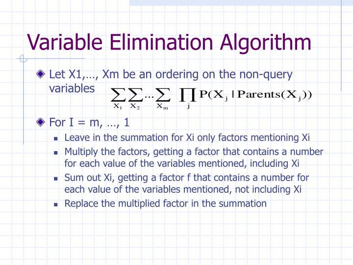 Variable Elimination Algorithm