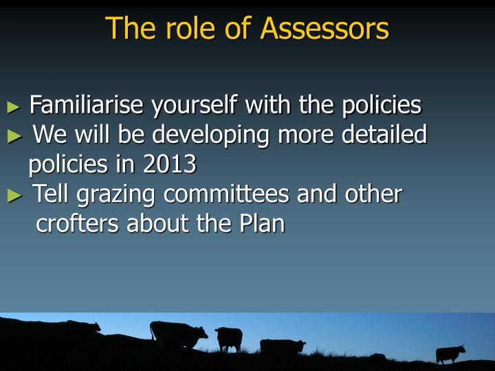 The role of Assessors
