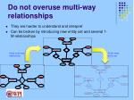 do not overuse multi way relationships