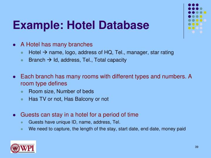 Example: Hotel Database