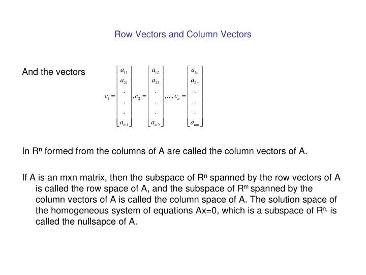 Row Vectors and Column Vectors