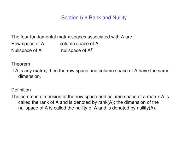 Section 5.6 Rank and Nullity
